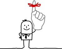 hand drawn cartoon characters - businessman & red ribbon on finger